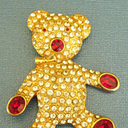 Adorable Vintage Teddy Bear Rhinestone Brooch- Austria
