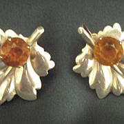 Gorgeous Vintage Mid Century Sterling Silver Leaf Earrings with Burnt Amber Rhinestones