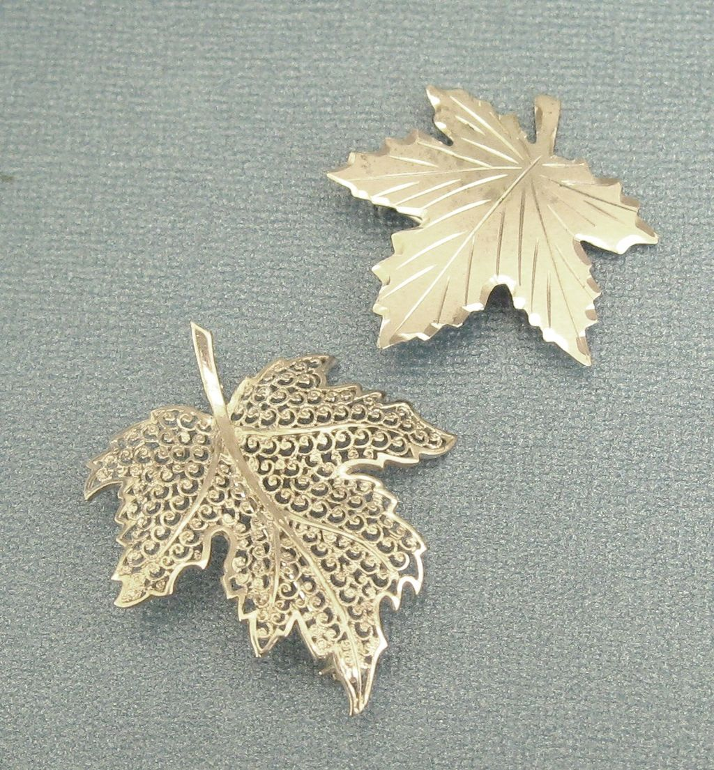 Two Lovely Sterling Silver Leaf Brooches Pins Germany