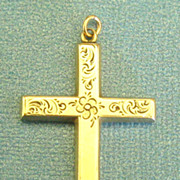 Lovely Large Vintage Sterling Silver and Gold Plate Cross with Engraved Flowers