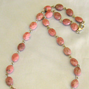 """Vintage """"Flower Power"""" Mauve Pink Rhodonite Cushion Cut Bead Necklace with Large Carved Flower"""