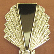 Spectacular Large Elegant Sterling Silver, Onyx, MOP and Marcasite Brooch