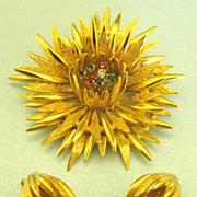 Beautiful Vintage Star Burst Flower Rhinestone Demi Parure- Brooch and Earrings