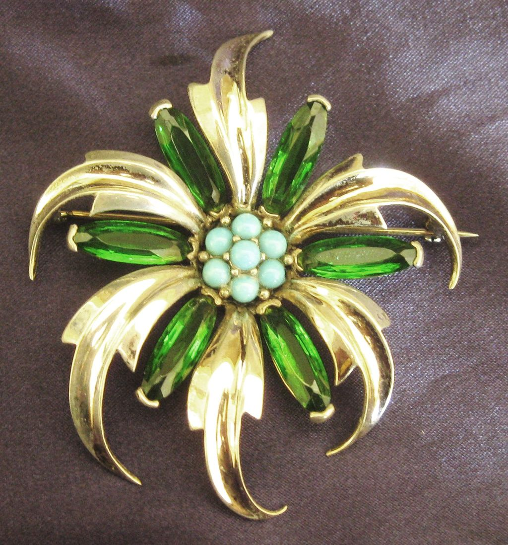 Fabulous Vintage Faceted Green Glass and Turquoise Bead Stylized Brooch