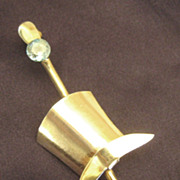 Charming Vintage Debonair Top Hat and Cane Brooch with Sparkling Blue Topaz