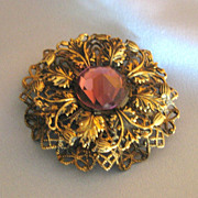 Lovely Vintage Czech Faceted Amethyst Glass Filigree  Brooch