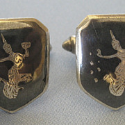 Classic Vintage Niello Dancing Goddess Sterling Silver Cuff Links