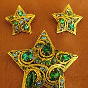Sparkling Vintage Blue and Green Rhinestone Star Brooch and Earrings- Demi Parure