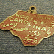 Vintage Light Red North Carolina State Enamel Charm