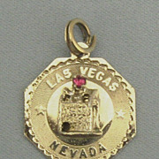 Vintage Sterling Silver Las Vegas Charm with Slot Machine