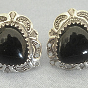 Lovely Black Onyx Sterling Silver Heart Pierced Earrings