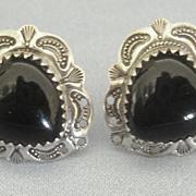 Lovely Black Onyx Sterling Silver Heart Pierced Earrings