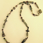 Lovely Garnet, Chalcedony, Onyx and Crystal Bead Sterling Silver Necklace with Peridot Clasp