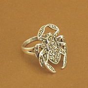 Sparkling Sterling Silver and Marcasite Black Widow Spider Ring