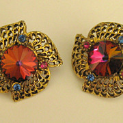 Sparkling Vintage Watermelon Rivoli Rhinestone Earrings
