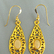 Pretty Opal Pierced Dangle Yellow Gold Tone Earrings