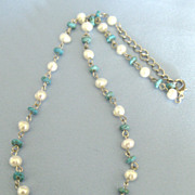 Pretty Turquoise Bead and Freshwater Pearl 18 Inch Necklace