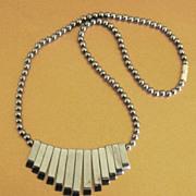 Lovely Vintage Natural Hematite Art Deco Design Necklace
