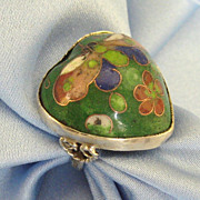 Charming Vintage Sterling Silver Chinese Cloisonne Heart Shaped Ring
