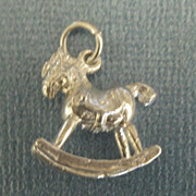 Adorable Vintage Sterling Silver Rocking Horse Charm