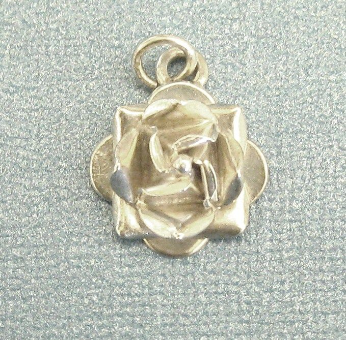 Lovely Sterling Silver Dimensional Rose Pendant or Charm