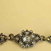 Lovely Vintage Blue Rhinestone Silver Tone Bracelet by Coro