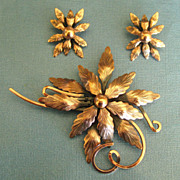 Lovely Large Mid Century Vintage Copper Brooch and Earrings by Renoir