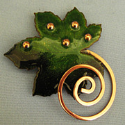 Lovely Mid Century Modernist Copper and Enamel Leaf Brooch by Matisse