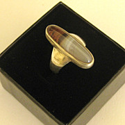 Attractive Vintage Landscape Agate Sterling Silver Ring- Size 5