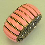 Lovely Vintage Wide Pink Thermoset Expansion Bracelet