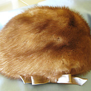 Beautiful Vintage Mink Hat with Satin Bow- Amrose of New York