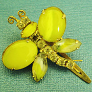 Exquisite Vintage Glass Cabochon and Rhinestone Butterfly Hair Ornament
