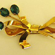 Sparkling Vintage Sterling Silver Rhinestone Bow Brooch by Coro