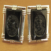 "Handsome Vintage Carved Black Glass ""Roman Warrior"" Cuff Links"