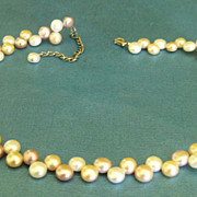 Vintage Fresh Water Button Pearl Necklace- Peach, Champagne and White