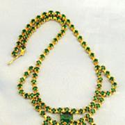 Elegant Vintage Emerald Green Rhinestone Bib Dangle Choker