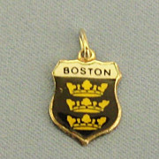 "Vintage Enamel on Sterling Silver ""Boston"" Charm"