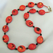 Beautiful Deep Scarlet Red Coral Necklace with Black Crystal Beads