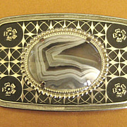 Fabulous Bold Vintage Prong Set Agate Belt Buckle