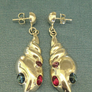 Lovely Vintage Sterling Shell Pierced Earrings with Glass Cabochon
