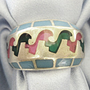 Attractive Vintage Sterling Bold Inlaid Ring- Size 9