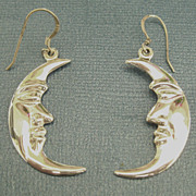 "Lovely Vintage Sterling Silver Crescent ""Man in the Moon"" Pierced Earrings"