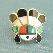 Charming Vintage Zuni Inlaid Sun God Sterling Ring- Size 5 3/4