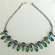 Sparkling Vintage Blue and Green Rhinestone Necklace