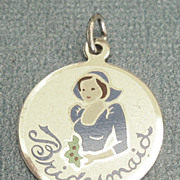 "Adorable Vintage ""Bridesmaid"" Enamel Sterling Silver Charm"
