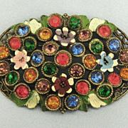 Beautiful Vintage Czech Colorful Paste Enamel Domed Brooch