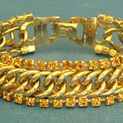Sparkling Vintage Coro Pegasus Amber Rhinestone Bracelet
