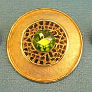 Lovely Vintage Hedy Apple Green Rhinestone Demi Parure