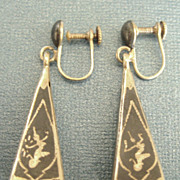 Lovely Vintage Niello Sterling Silver Dangle Earrings- Siam