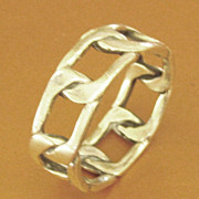 Attractive Vintage Sterling Silver Chain Design Ring- Size 12 1/4